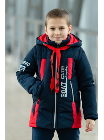 Куртка 7924-3 БОНО демисезонная д/мал (синий/красный)