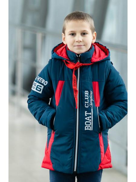 Куртка БОНО демисезонная д/мал (красный+джинс)
