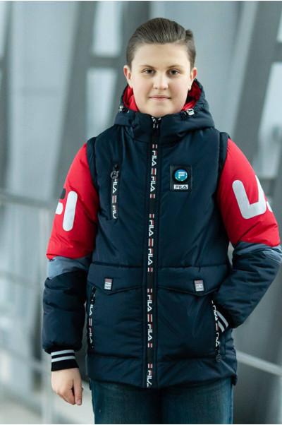 Куртка ФЛИП демисезонная д/мал (т.синий/красный)