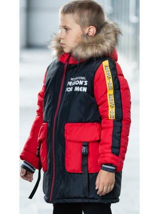 Зимняя куртка ПРЕСТОН д/мальч. (черный/красный)