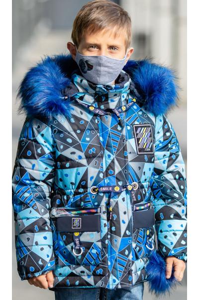 Зимняя куртка МЕЛЕК+маска д/мальч. (синий/светоотр.вставки)