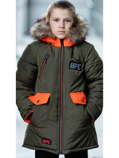 Зимняя куртка ФОСС д/мальч. (хаки+оранжевый)