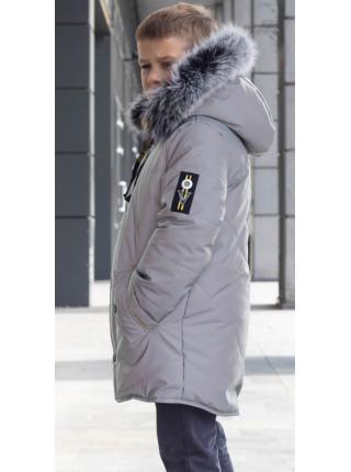 Зимняя куртка МОРТЕН д/мальч. (св.серый/желтый)