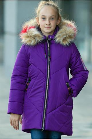 Зимнее пальто Ирада д/дев+снуд в комплекте (фиолетовый)