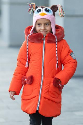 Зимняя куртка ДИЛЯ д/дев. с шарфом в комплекте (ярко-оранжевый)