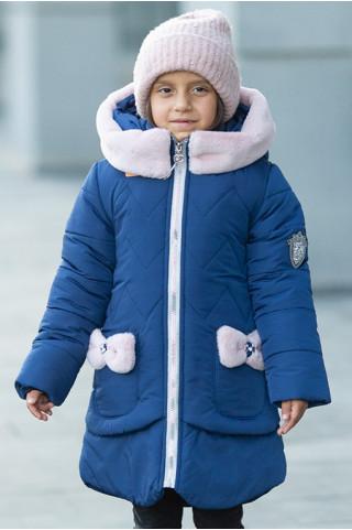 Зимняя куртка ДИЛЯ д/дев. с шарфом в комплекте (т.синий+пудра)