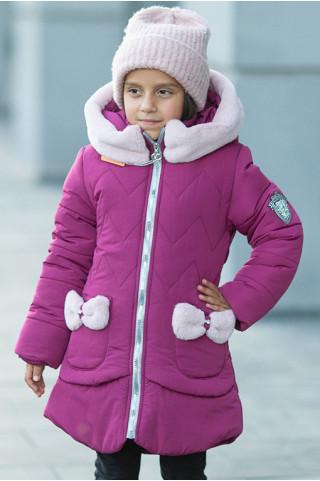 Зимняя куртка ДИЛЯ д/дев. с шарфом в комплекте (фуксия)