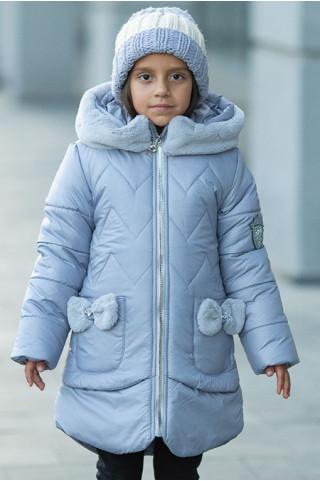Зимняя куртка ДИЛЯ д/дев. с шарфом в комплекте (серо-голубой)