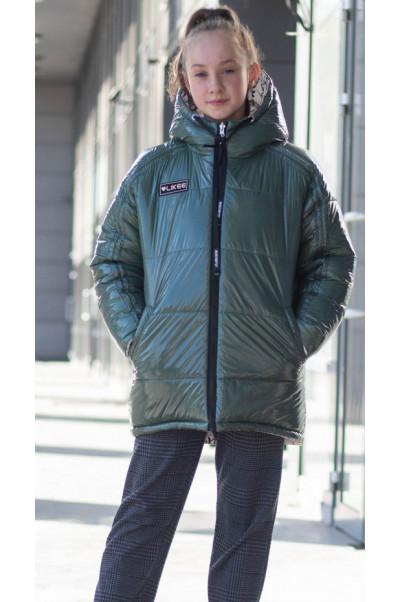 Зимняя куртка ТВИНКИ д/дев. (зеленый)