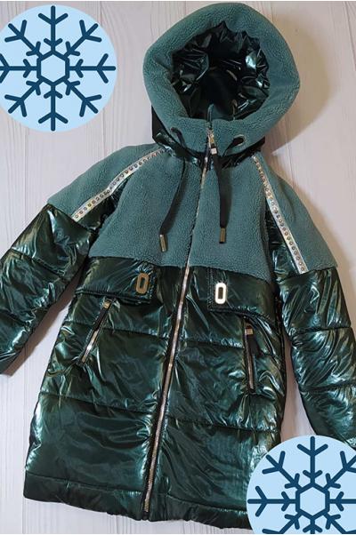 Зимняя куртка Аглая для девочки ( т.зеленый)