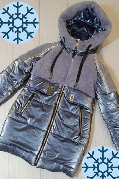 Зимняя куртка Аглая для девочки (металлик)