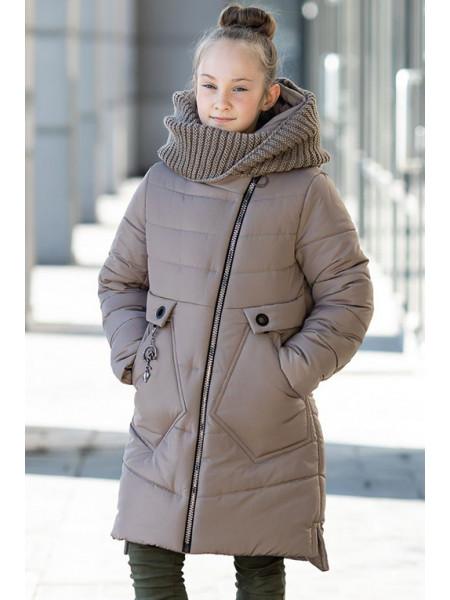 Зимнее пальто МАЛУША д/дев.+снуд (бежевый)