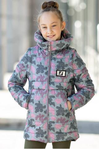Куртка-жилет РАМИНА демисезонная д/дев. (серый+розовый)