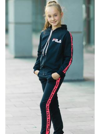 Детский спортивный костюм УМА д/дев. (черный+розовый)