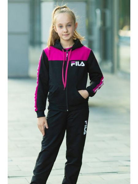 Детский спортивный костюм УМА д/дев. (т.серый+малиновый)