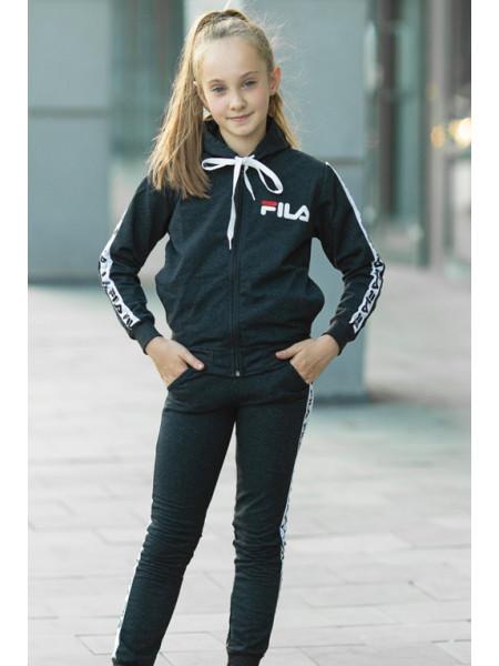 Детский спортивный костюм УМА д/дев. (черный+белый)
