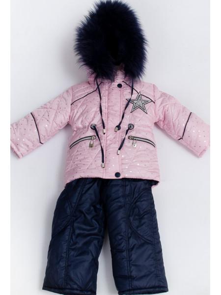 Комплект МЕЛАНИЯ зимний (розовый+снежинки)