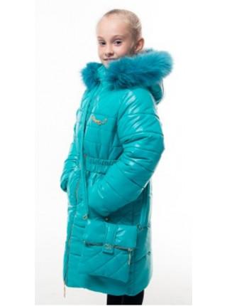 Пальто(зима) ШЕЛЛИ с сумочкой (бирюза)