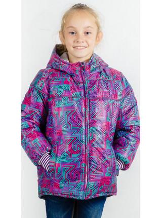Зимняя куртка ГЕНРИЕТТА для девочки.(фиолетовый+геометрия)