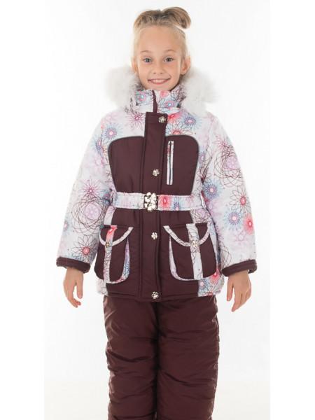 Зимний комплект УСТИНЬЯ для девочки.(белый+коричневый)