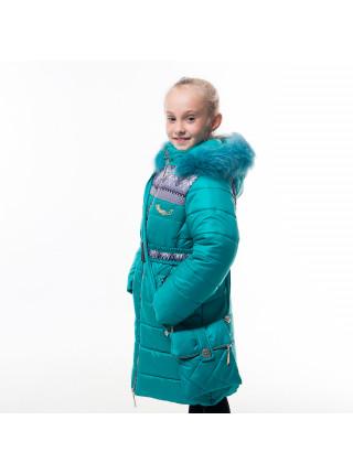 Пальто(зима) УЗОР с сумкой (бирюза)